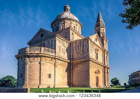 Exterior of Madonna di San Biagio church in Montepulciano, Italy