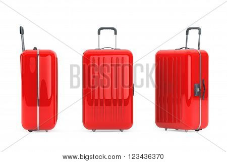 Large Red Polycarbonate Suitcases on a white background. 3d Rendering