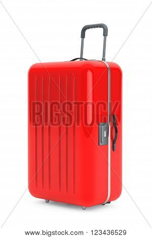Large Red Polycarbonate Suitcase on a white background