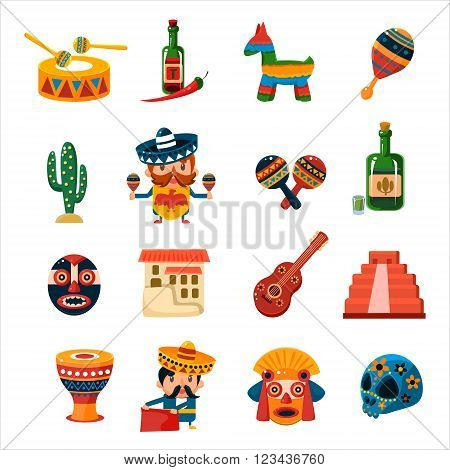 Traditional Mexican Symbols Collection Isolated Flat Vector CuteIcons On White Background