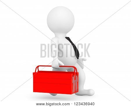 3d Person with Red Toolbox on a white background