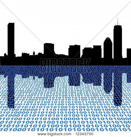 Boston skyline with binary perspective illustration