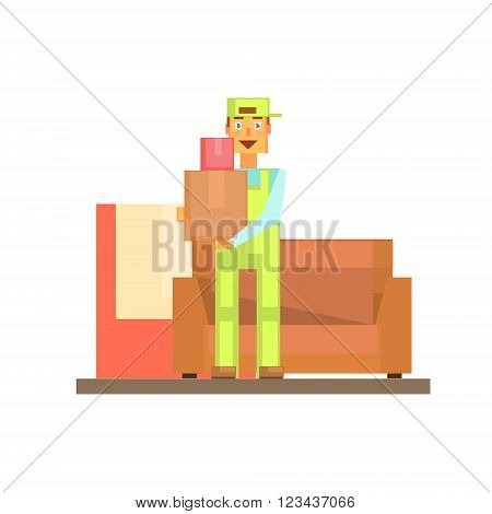 Workman Holding Boxes With Sofa Behind 8-bit Abstract Primitive Flat Vector Illustration On White Background
