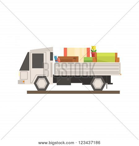 Loaded Moving Truck 8-bit Abstract Primitive Flat Vector Illustration On White Background