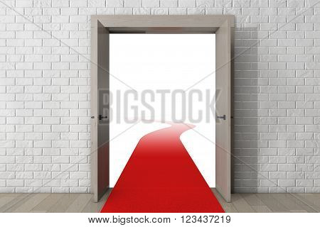 Road To Success. Door with Red Carpet in front of Brick Wall extreme closeup. 3d Rendering
