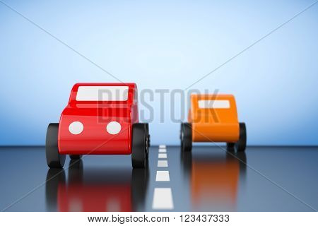 Multicolour Cartoon Toy Cars on a blue background. 3d rendering