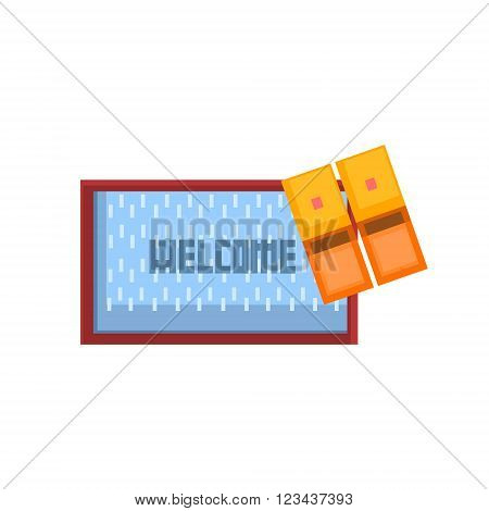 Threshols Welcoming Carpet And Slippers 8-bit Abstract Primitive Flat Vector Illustration On White Background