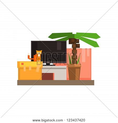 Room Interior With TV And Cat 8-bit Abstract Primitive Flat Vector Illustration On White Background