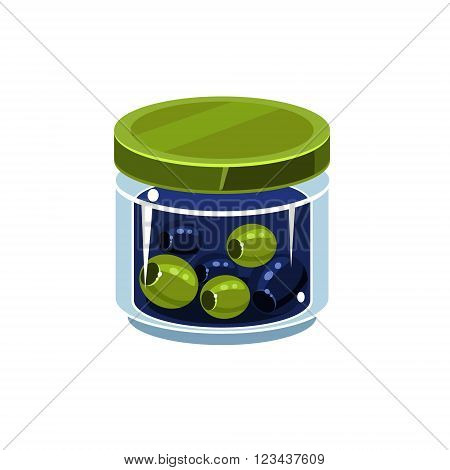Mixed Olives In Transparent Jar Isolated Flat Vector Icon On White Backgroung In Simplified Manner