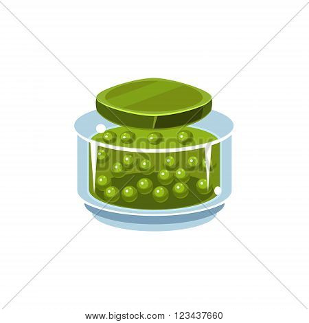 Peas In Transparent Jar Isolated Flat Vector Icon On White Backgroung In Simplified Manner