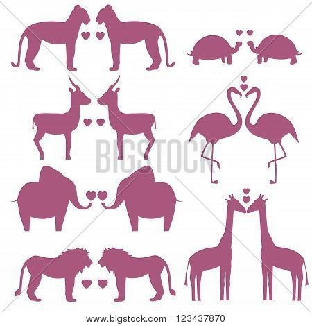 Vector set of animals couple with heart including giraffe turtle elephant lion leopard flamingos gazelle silhouette