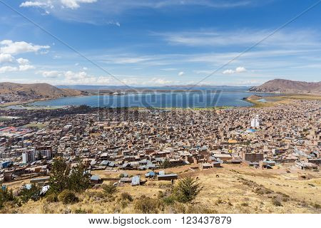 Aerial Panorama Of Puno And Lake Titicaca From Mirador El Condor,  Peru