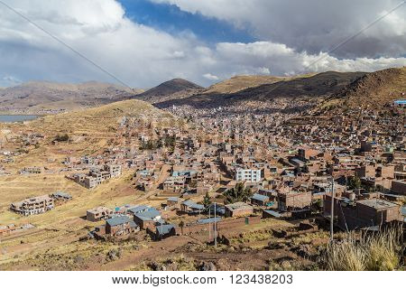Panorama of Puno from hill top Peru