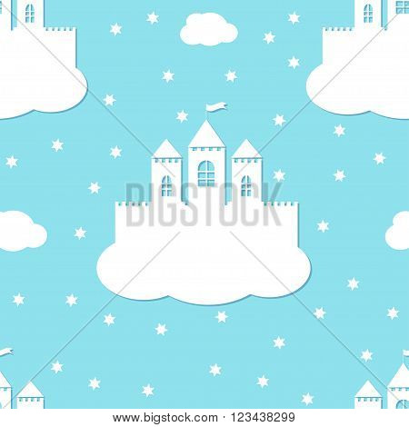 Seamless pattern with white castles on blue background. White paper castle on a cloud in paper cut style, vector illustration.
