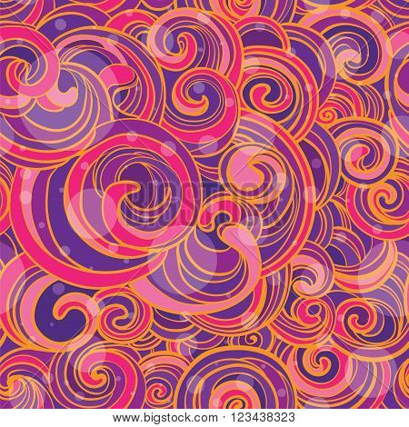 Hand Drawn vector seamless pattern with bright pink and violet whorls.