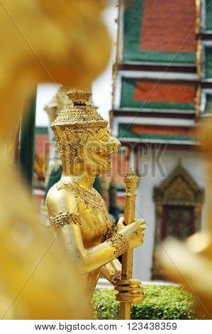 Mythical decorated figures Grand Palace Bangkok Thailand.