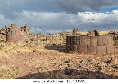 Sillustani Ancient Burial Ground With Giant Chullpas Cylindrical Funerary Towers Built By A Pre-inca