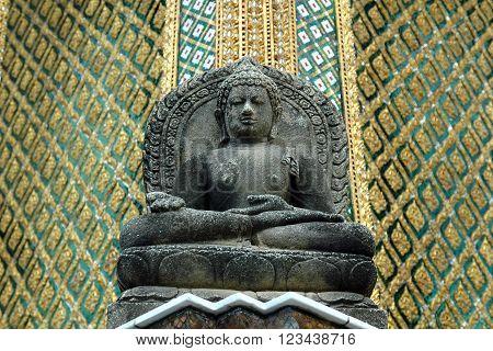 Carved buddha statue at the Grand Palace Bangkok Thailand.