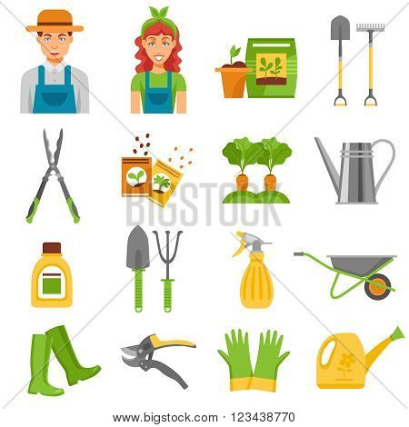 Farmers gardening tools accessories flat icons set with barrow rake and seedlings to plant abstract isolated vector illustration