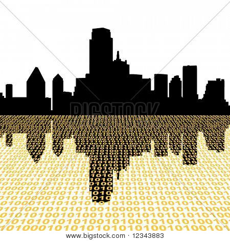 Dallas skyline with binary perspective foreground