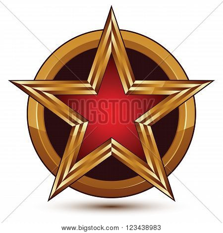 Vector glorious glossy design element luxury 3d red star with golden borders placed on a splendid surface conceptual graphic template clear EPS 8.