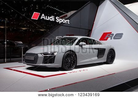 GENEVA, SWITZERLAND - MARCH 1: Geneva Motor Show on March 1, 2016 in Geneva, Audi R8 V10, front-side view