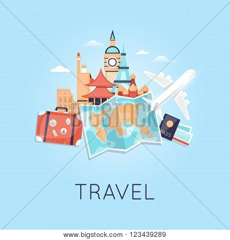Travel by plane Russia, USA, Japan, France, England, Italy. World Travel. Planning summer vacations. Summer holiday. Tourism and vacation theme. Flat design vector