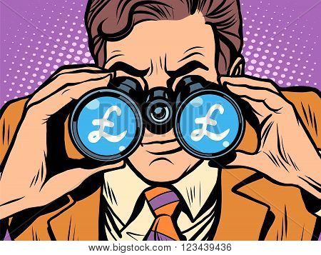 Monitoring the currency pound exchange rate pop art retro style. A man looks through binoculars. The trader on the exchange