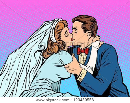 The bride and groom kiss pop art retro style. Man and woman at the wedding. Love couple