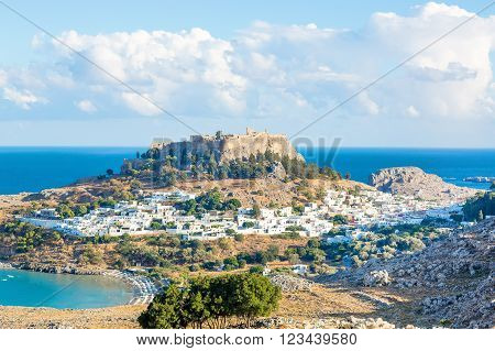 Lindos with the castle above on the Greek Island of Rhodes.