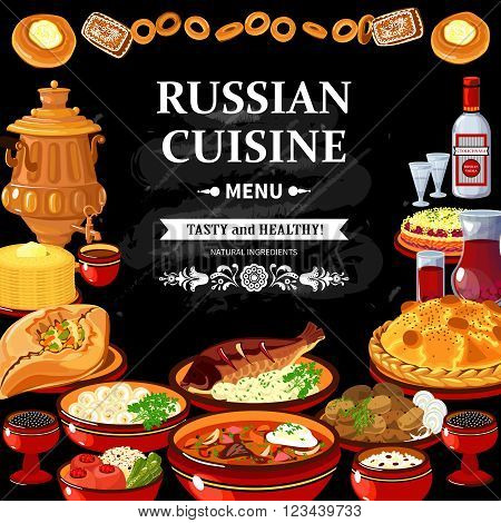 Russian cuisine restaurant menu black board poster with colorful traditional dishes vodka and samovar abstract vector illustration