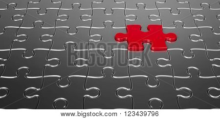 Metal puzzle pieces with one red piece - concept particular person three-dimensional rendering, 3d illustration