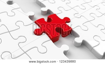 Two puzzle parts connected with red jigsaw piece concept particular person three-dimensional rendering, 3d illustration