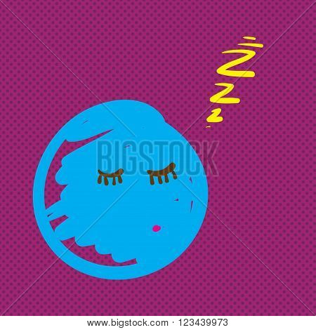 Hand Drawn Creature Sleeping Vector Illustration.