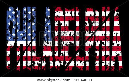 grunge Philadelphia text with American flag illustration