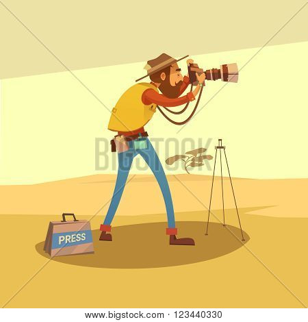 Journalist in a dry desert making photos with camera cartoon vector illustration