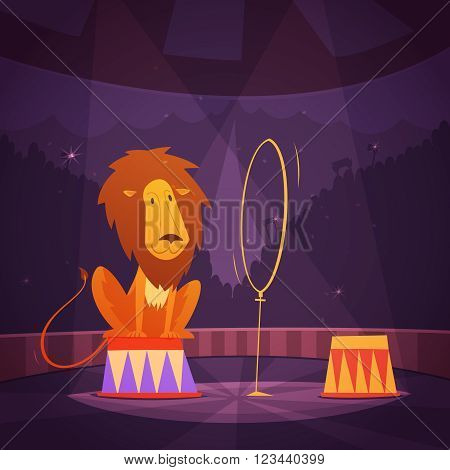 Circus lion jumping through a ring on the stage cartoon vector illustration