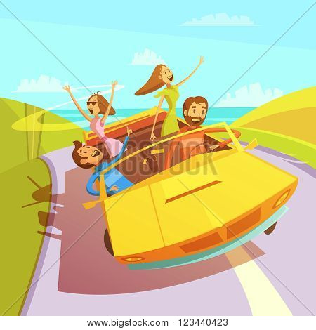 Friends traveling in a cabriolet to the sea background with men and women cartoon vector illustration