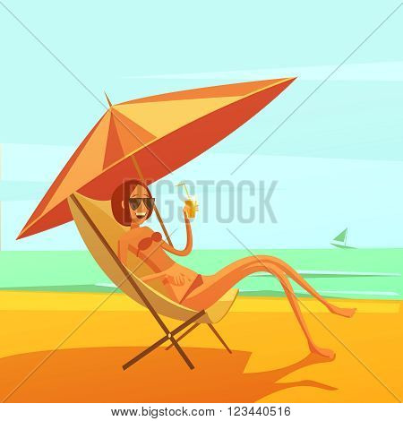 Rest at sea background with woman in a chaise lounge drinking cocktail cartoon vector illustration