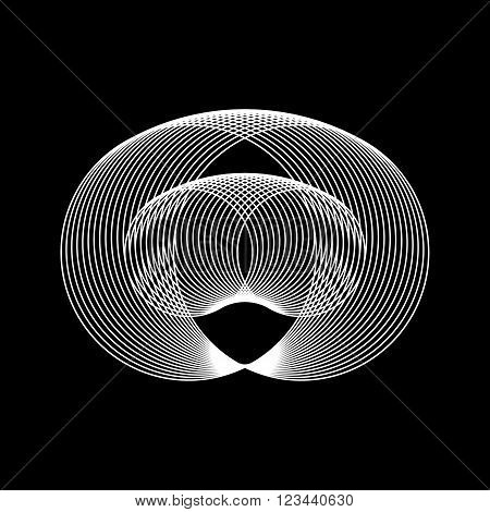 White abstract technology fractal shape with black background for logo, design concepts, posters, banners, web, presentations and prints. Vector illustration.