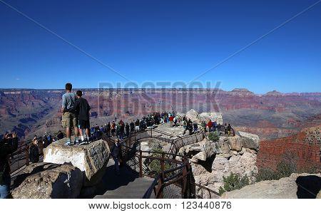 GRAND CANYON NATIONAL PARK, ARIZONA, USA, DECEMBER 20, 2015 : Colorado grand canyon from south rim, december 20, 2015 in grand canyon national park, usa