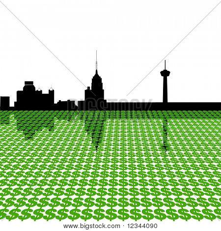 Skyline de San Antonio con dólar símbolos ilustración