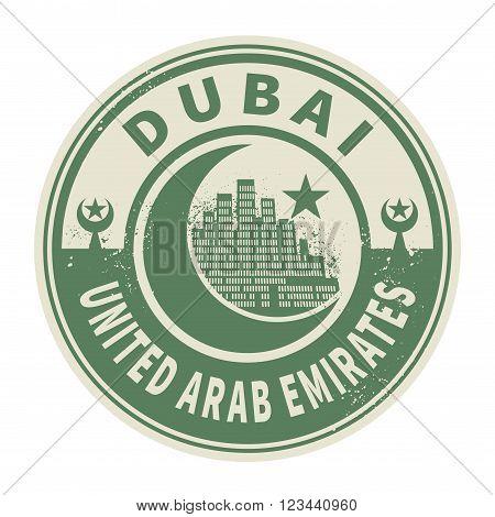 Stamp or emblem with text Dubai United Arab Emirates inside, vector illustration