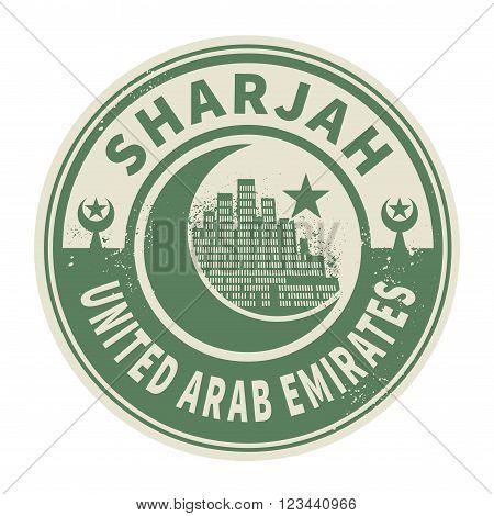 Stamp or emblem with text Sharjah United Arab Emirates, inside vector illustration