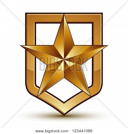 Vector Glorious Glossy Design Element With Luxury 3D Golden Star, Conceptual Graphic Template, Clear