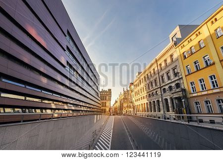 New and old architecture of Wroclaw, on the sunset. Poland. Europe.
