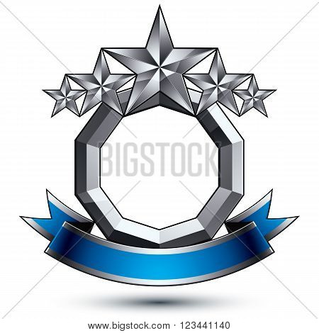 Vector Glorious Glossy Design Element, Luxury 3D Pentagonal Silver Stars, Conceptual Complicated Gra