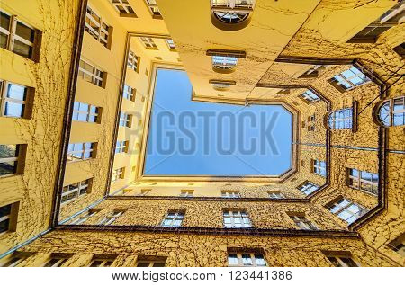 The view from the bottom at the courtyard in Wroclaw Poland Europe.