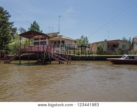 Buenos Aires Argentina - 29th October 2015: Interesting architectural buildings seen during a boat trip in the River Plate delta.