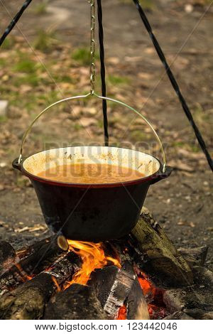 Closeup of boiling potato stew in hot cauldron portrait view